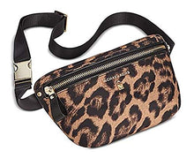 Load image into Gallery viewer, Michael Kors Woman's Leopard Animal Print Nylon & Saffiano Leather Trimmed Waist Bag, Belt Bag, Fanny Pack, Hip Bag, Bum Bag
