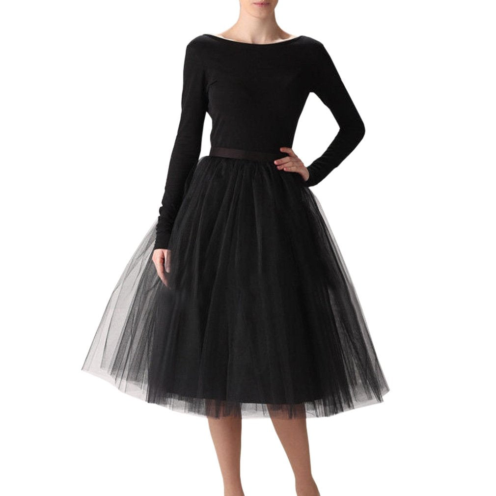 Wedding Planning Women's A Line Short Knee Length Tutu Tulle Prom Party Skirt X-Large Black
