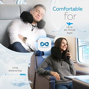 Everlasting Comfort 100% Pure Memory Foam Neck Pillow Airplane Travel Kit