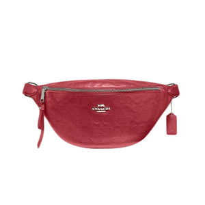 Coach Signature Debossed Red Leather Fanny Belt Bag