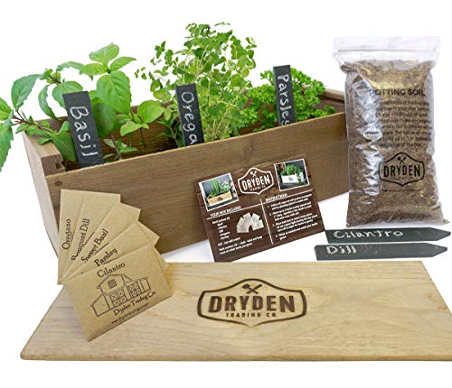 Indoor/Outdoor Herb Garden Kit - Classic Wood Planter Box with Herb Seeds, Plant Stakes and Expanding Wondersoil - 16