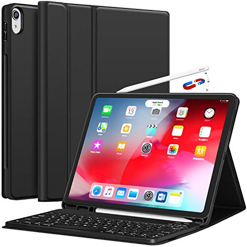 iPad Pro 12.9 Case with Keyboard - 2018 [Support Apple Pencil Charging] [with Pencil Holder] Magnetically Detachable Wireless Keyboard for Apple iPad Pro 12.9 2018 (Not for 2017/2015), Black