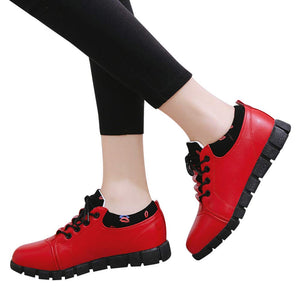 Women's Outdoor PU Leather Athletic Shoes Lace Up Sneaker Casual Flexible Walking Running Shoes (Red, US:5.5)