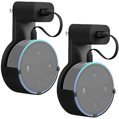 GMYLE Echo Dot 2 Wall Mount Hanger Holder Stand Amazon Alexa Echo Dot 2nd Generation Without Mess Wires Or Screws, Dot Accessories, Compact Holder Case Plug in Kitchens, Bathroom And Bedroom (2 Packs)