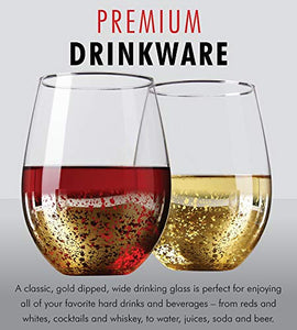 Gold Rimmed Stemless Wine Glasses, 18oz – Set of 6 Elegant Cocktail Tumblers – Premium Glass Drinking Cups – Deluxe Gift Pack - Dishwasher Safe – by Kitchen Lux