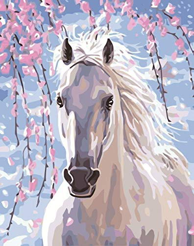Wgniip 5D DIY Kids' Paint by Number Kits, Full Round Diamond Painting by Numbers Kits for Children Rhinestone Diamond Embroidery Home Wall Décor - White Horse 14X18 inches