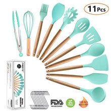 Load image into Gallery viewer, MIBOTE 11pcs Silicone Cooking Kitchen Utensils Set, Bamboo Wooden Handles Cooking Tool BPA Free Non Toxic Silicone Turner Tongs Spatula Spoon Kitchen Gadgets Utensil Set for Nonstick Cookware (Green)