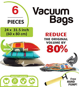 6 PC Vacuum Storage Bags with Travel Pump
