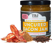 Load image into Gallery viewer, TBJ Gourmet Black Peppercorn Bacon Jam - Original Recipe Bacon Spread - Uses Real Bacon & Black Peppercorn - No Preservatives - Authentic Bacon Jams - 9 Ounces