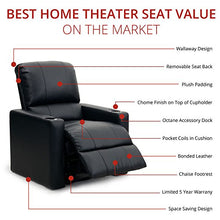 Load image into Gallery viewer, Octane Seating Charger XS300 Home Theater Chairs - Black Bonded Leather - Manual Recline - Row 4 Seats - Space Saving Design