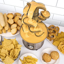 Load image into Gallery viewer, Nostalgia CFF1000 Chocolate/Bib Ranch/Nacho Cheese/Buffalo Sauce Cascading Fondue Fountain, 2 lb Stainless Steel