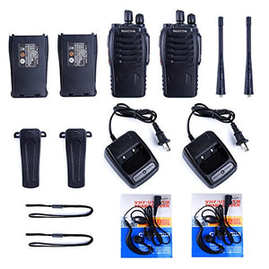 Walkie Talkie 2pcs in One Box with Rechargeable Battery Headphone Wall Charger Long Range 16 Channels Two Way Radio (2pcs radios)