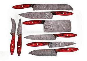 Hand made damascus steel blade kitchen knife 8 PCS set with leather pouch for storage. WT-1046-8