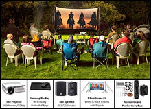 Load image into Gallery viewer, Backyard Theater Kit | Recreation Series System | 9' Front and Rear Projection Screen with HD Savi 1080p Projector, Surround Sound System & Blu-Ray Player w/WiFi (EZ-950)