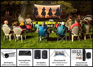 Backyard Theater Kit | Recreation Series System | 9' Front and Rear Projection Screen with HD Savi 1080p Projector, Surround Sound System & Blu-Ray Player w/WiFi (EZ-950)