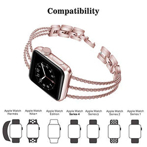 Biaoge Metal Band Compatible for Apple Watch Band Series 4 40mm 44mm/ iWatch Series 3 2 1 38mm 42mm, Adjustable Stainless Steel Replacement Wristband Strap Cuff Bangle Bracelet Access(Rose Pink, 38mm)