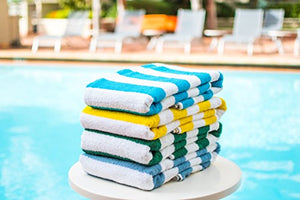 "100% USA Cotton Cabana Stripe Beach Towel Or Pool Towel Family Value 4 Pack Blue Turquoise Green Yellow. 100% USA Cotton 33"" x 66."" Sold to major hotel chains across the USA & Caribbean."