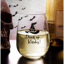 Load image into Gallery viewer, BarConic Drink Up Witches Halloween Stemless Wine Glass (17oz)