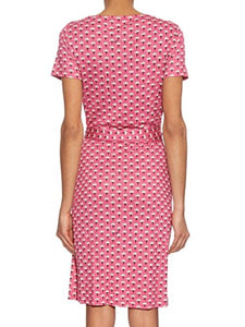 Diane von Furstenberg New Julian Two Wrap Silk Dress in Peace Palm Pink