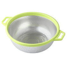 "Load image into Gallery viewer, Stainless Steel Colander With Handle and Legs, Large Metal Green Strainer for Pasta, Spaghetti, Berry, Veggies, Fruits, Noodles, Salads, 5-quart 10.5"" Kitchen Food Mesh Colander, Dishwasher Safe"