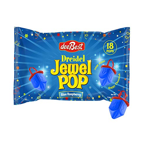 Dee Best Dreidel Jewel Pop Ring Shape Candy - Blue Raspberry 18 Count Individually Wrapped