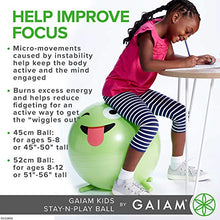 Load image into Gallery viewer, Gaiam Kids Stay-N-Play Children's Balance Ball - Flexible School Chair Active Classroom Desk Alternative Seating | Built-In Stay-Put Soft Stability Legs, Includes Air Pump, 45cm, Blue
