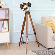 Load image into Gallery viewer, Tripod Floor Lamp Decorative Lamps Industrial Searchlight Table Lights Desk Spotlight,Vintage Metal Wood Studio Industrial Antique Rustic Camera Retro Modern Home Art Deco Props (Black)
