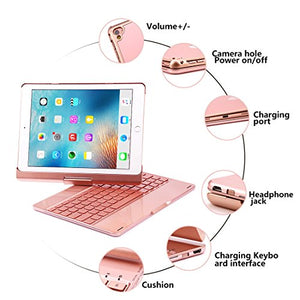 "Keyboard Case iPad 2018 9.7"" (6th Gen) - iPad 2017 (5th Gen) - iPad Pro 9.7"" - iPad Air 1 2, 360° Rotatable 7 Color Backlit Keyboard Auto Wake/Sleep (Rose Gold)"