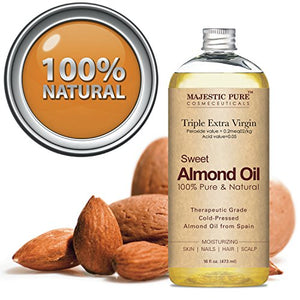 Majestic Pure Sweet Almond Oil, Super Triple A Grade Quality, 100% Pure and Natural