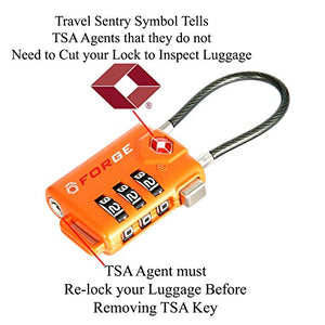 TSA Approved Cable Luggage Locks, Re-settable Combination with Alloy Body …