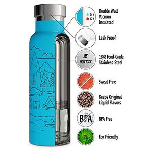 Double Walled Vacuum Insulated Water Bottle BPA Free Straw Lid Sports Cap Stainless Steel Eco Friendly Non Sweat Durable Finish Poder Coated Metal Hydro Thermos 500ml (17 oz, Blue)