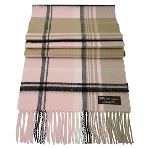 Rosemarie Collections 100% Cashmere Winter Scarf Made In Scotland (Pink and Black Plaid)