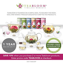 Load image into Gallery viewer, Teabloom Blooming Tea Set - Stovetop Safe Glass Teapot with 12 Flowering Teas, Tea Warmer, 4 Double Wall Teacups & Removable Glass Infuser for Loose Leaf Tea - Complete Flowering Tea Gift Set