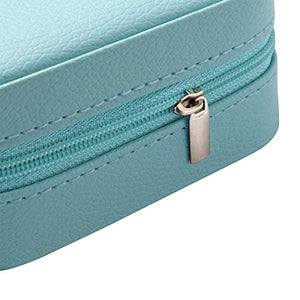 Vlando Small Faux Leather Travel Jewelry Box Organizer (Blue)