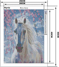 Load image into Gallery viewer, Wgniip 5D DIY Kids' Paint by Number Kits, Full Round Diamond Painting by Numbers Kits for Children Rhinestone Diamond Embroidery Home Wall Décor - White Horse 14X18 inches