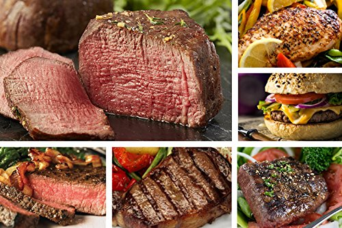 Chicago Steak Angus Steak Set - Have a Taste of Prime Beef! – Gourmet Food Sampler – 8 Cuts/16 Burger Patties - Includes Filet Mignon Steaks, Sirloin, Ribeye, Flat Iron Steak, Marinated Chicken