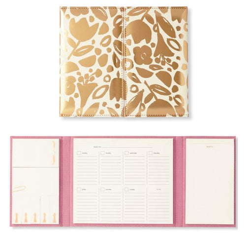 Kate Spade New York Women's Desktop Calendar & Folio | Includes Sticky Notes, Undated Weekly Calendar, Notepad | Golden Floral
