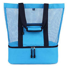 Load image into Gallery viewer, blue sky BASICS MALIBU Beach Bag - 2 in 1 Mesh Beach Tote Bag with Cooler + Free Beach Gift
