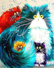"Load image into Gallery viewer, iCoostor Paint by Numbers DIY Acrylic Painting Kit for Kids & Adults Beginner – 16"" x 20"" Four Color Cat Pattern with 3 Brushes & Bright Colors"