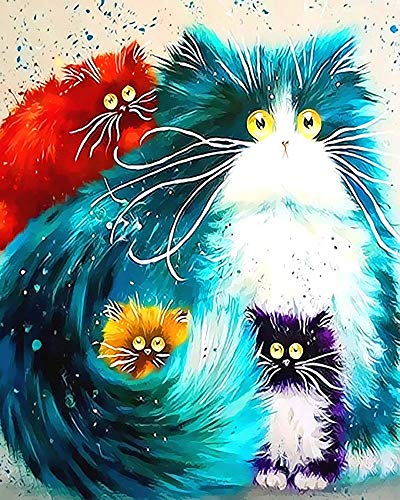 "iCoostor Paint by Numbers DIY Acrylic Painting Kit for Kids & Adults Beginner – 16"" x 20"" Four Color Cat Pattern with 3 Brushes & Bright Colors"