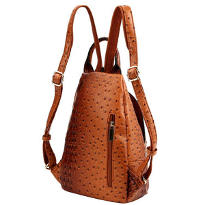Multi-Pocket Vegan Leather Fashion 2 Way Medium Slim Pocket Backpack Shoulder Bag (Leopard Print - Taupe)