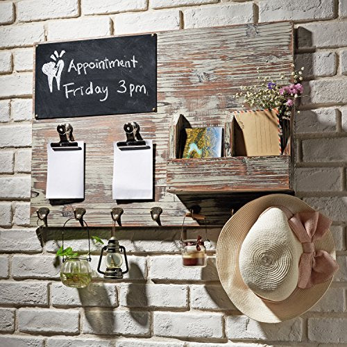 MyGift Torched Wood Wall Mounted Chalkboard Memo Clips, Mail Sorter and Key Hooks, Entryway All-in-One Organizer