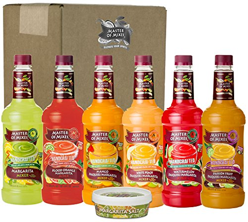 Master of Mixes Margarita/Daiquiri Drink Mixes Variety, Ready to Use, 1 Liter Bottles (33.8 Fl Oz), Pack of 6 Flavors + Margarita Salt