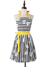 Load image into Gallery viewer, Lovely Comfortable Claccic Black Stripe and Fashion Daisy Skirt Kitchen Women Apron for Ladies Girls Wife Daughter (Yellow)