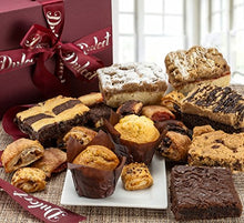 Load image into Gallery viewer, Dulcet Gift Basket Deluxe Gourmet Food Gift Basket: Prime Delivery for Christmas holiday Men and Women: Includes Assorted Brownies, Crumb Cakes Rugelach, and Muffins. Great gift idea!