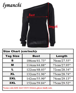 lymanchi Women Halloween Costume Off Shoulder Tops Casual Pullover Slouchy Sweatshirt C Black S
