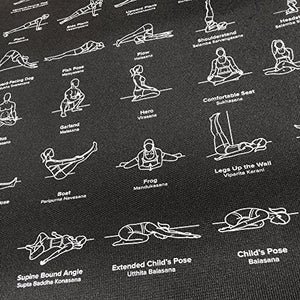 "NewMe Fitness Instructional Yoga Mat, Black, Printed w/ 70 Illustrated Poses, 24"" Wide x 68"" Long, for Women & Men : Non Slip, Eco Friendly PVC, Non Toxic : for Home or Gym : 5mm Thick"
