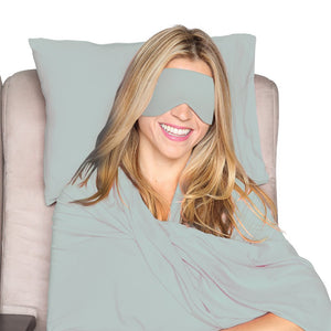 Happyluxe Travel Set, Includes Small Pillow, Wrap/Blanket, and Sleep Mask. Great for Airplanes, Trains, Cruise Ships, Relaxation,and More. Travel in Comfort, Arrive in Style. Made in USA (Sage Green)