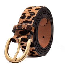 "Load image into Gallery viewer, Women's Leopard Print Leather Belt for Pants Jeans Waist Belt with Alloy Buckle By LOKLIK (XS(26""-32""))"