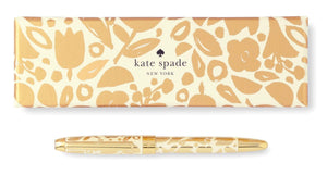 Kate Spade New York Black Ink Ballpoint Pen, Golden Floral